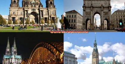 Izquierda superior: Catedral de Berlín, Izquierda inferior: Kölner Dom (Catedral de Colonia). Derecha superior: Siegestor (Puerta de la Victoria), Derecha inferior: Ayuntamiento de Hamburgo.