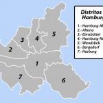 Mapa de los Distritos administrativos de Hamburgo