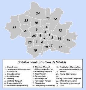 Mapa de los Distritos de Múnich