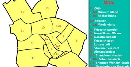 Mapa de los barrios del distrito Mitte