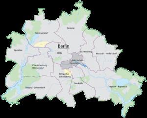 Ubicación del distrito Friedrichshain-kreuzberg