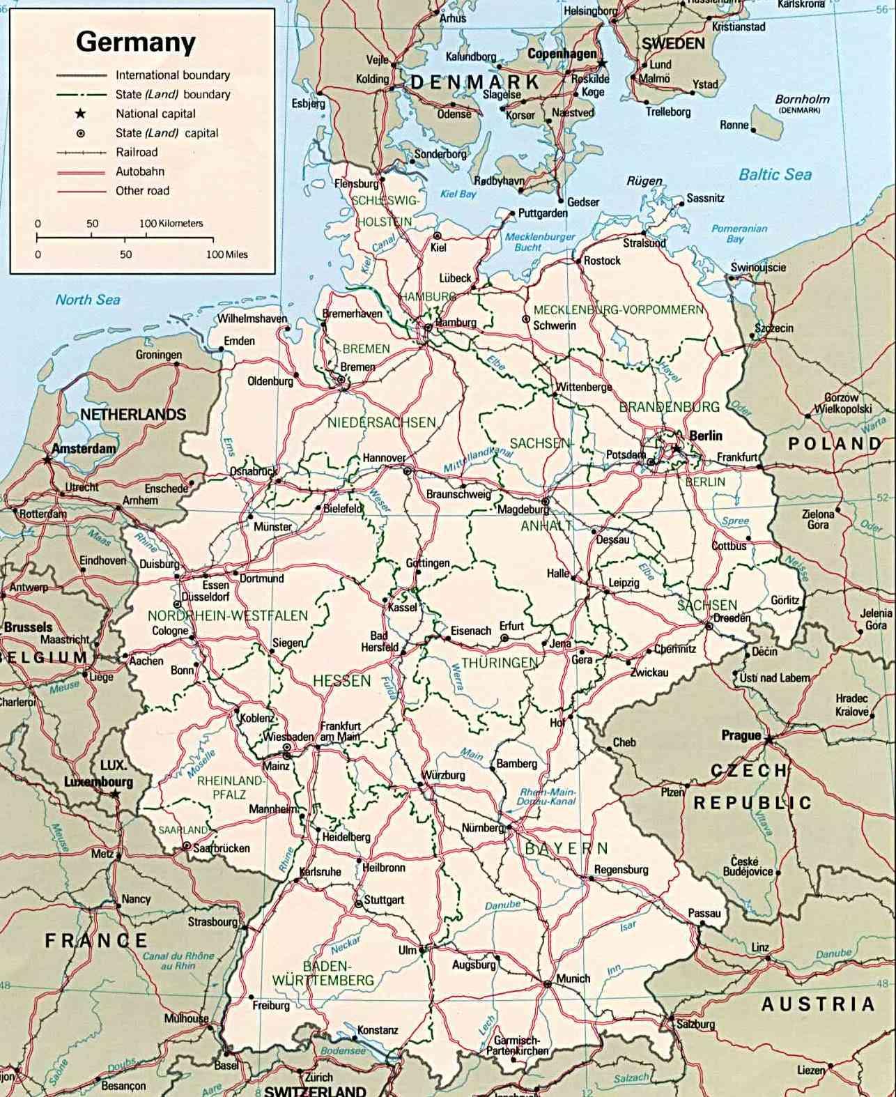 Mapa de Alemania - Guia de Alemania