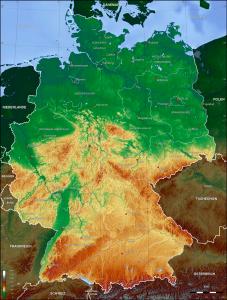 Mapa físico de Alemania