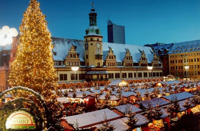 Mercado de Navidad en Marktplatz, Leipzig