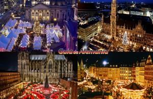 Izquierda superior: Mercado de Navidad en Berlín, Izquierda inferior: Mercado de Navidad en Colonia; Derecha superior: Mercado de Navidad en Múnich, Derecha inferior: Mercado de Navidad en Frankfurt.