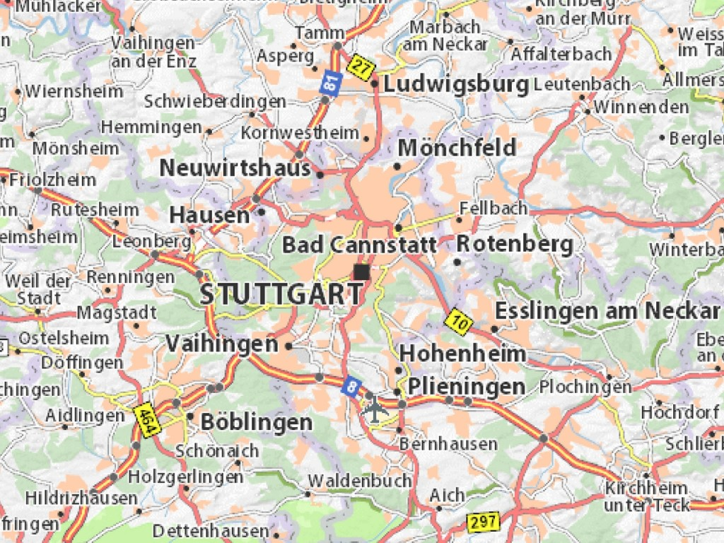 stuttgart mapa Mapa de Stuttgart   Guia de Alemania stuttgart mapa